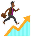 Man running on growth graph Royalty Free Stock Image