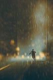 Man running in heavy rainy night stock illustration