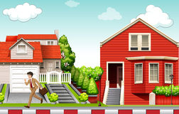 Man running from house. Illustration Stock Images