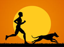 Man running jogging training exercising with his dog  at sunset. Man running jogging training exercising with his dog vector illustration Royalty Free Stock Photo