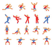 Man in running, jumping and dancing poses. Red and blue, body figure, action human, vector illustration Royalty Free Stock Images