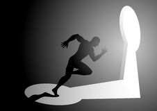 Man running into a keyhole. Silhouette illustration of a man running into a keyhole Royalty Free Stock Photo