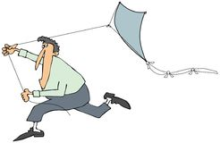 Man running with a kite. This illustration depicts a man running while pulling a blue kite with a tail Stock Photos
