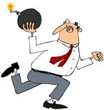 Man running with a large round bomb. This illustration depicts a man running with a large, round, lit bomb Royalty Free Stock Images