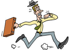 Man Running Late. A frantic man running late for work or an appointment royalty free illustration