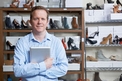 Man Running Online Shoe Business. Portrait Of Male Owner Of Shoe Store Royalty Free Stock Images