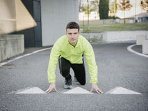 Man running outdoor. In the road Royalty Free Stock Photos