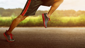Man running on outdoors. In the morning Stock Photos