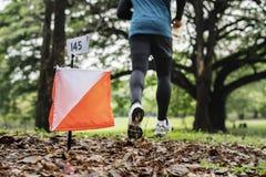 Man running pass check point royalty free stock photos