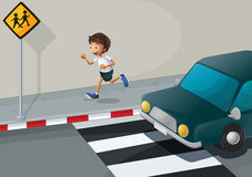 A man running at the road with a car Stock Photos