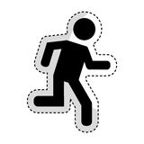 Man running silhouette emblem icon. Vector illustration design Stock Photography
