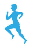 Man running silhouette icon. Blue silhouette flat design man running icon  illustration Stock Photos