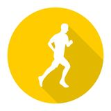 Man running silhouette icon with long shadow. Vector icon Stock Photos