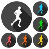 Man running silhouette icons set with long shadow. Vector icon Royalty Free Stock Photography