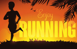 Man Running Silhouette in a Summer Sunset, Vector Illustration. Summer sunset, in a park with a man running, birds and palm leaves in silhouettes with greeting Stock Photography