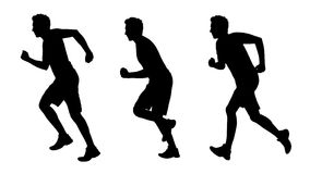 Man running silhouettes set 1 Stock Photo