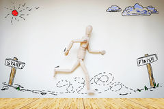Man running from start to finish Royalty Free Stock Images
