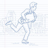 Man running with suitcase full of money. Royalty Free Stock Images