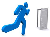 Man running to open door Royalty Free Stock Photo