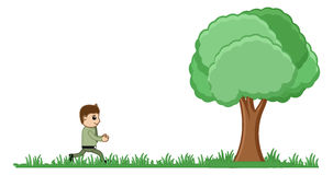 Man Running to a Tree Vector Illustration Royalty Free Stock Photography