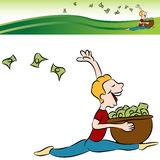 Man Running Tossing Money. An image of a man running tossing money from a basket with banner Stock Photos