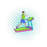 Man running on a treadmil icon, comics style Stock Photography