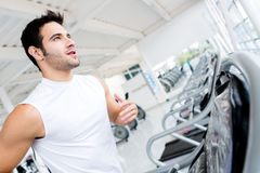 Man running on the treadmill Royalty Free Stock Photography