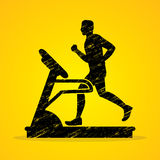 Man running on treadmill. Graphic vector Royalty Free Stock Photos