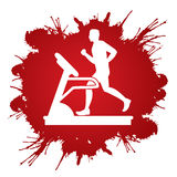 Man running on treadmill. Graphic vector Stock Image