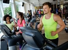 Man running on a treadmill. In a gym Royalty Free Stock Images