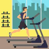 Man running on treadmill, in gym with big window and with silhouettes of buildings behind it. Gym interior. Man Jogging. Vector il. Lustration Stock Photo
