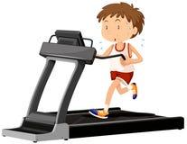Man running on treadmill. Illustration Royalty Free Stock Image