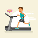 A man running on a treadmill. Vector illustration Royalty Free Stock Photography