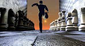 Man running trough chess pieces Royalty Free Stock Photos