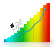 Man running up the chart Royalty Free Stock Images