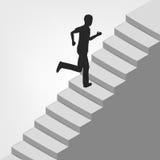 Man running up on diagonal staircase Stock Photos