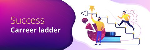 Business coaching header or footer banner. A man running up to the hand drawn stairs as a concept of coaching, business training, goal achievment, success royalty free illustration