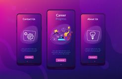 Business coaching app interface template. A man running up to the hand drawn stairs as a concept of coaching, business training, goal achievment, success vector illustration