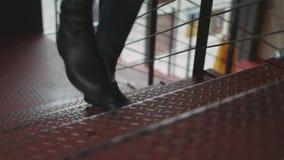 Man Running Upstairs Movements stock video