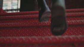 Man Running Upstairs Movements stock footage