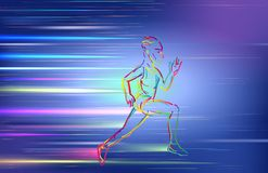 Man running, using colorful zigzag line on blue background Royalty Free Stock Image