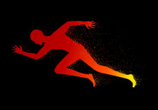Man running, vector. Graphic fire man running on black background Stock Photography