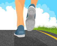 Man running. Vector illustration of a man running on the road Stock Photo