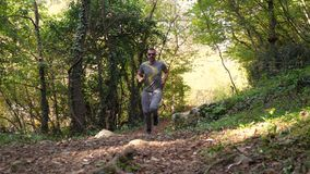 Man running in woods. Man jogging in forest early morning. Try to get in shape and weight loss stock video footage