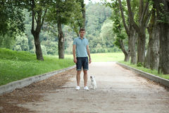 Man running with your dog Royalty Free Stock Photography