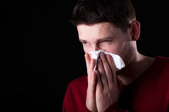 Man with runny nose Royalty Free Stock Photos