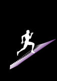 Man runs. On the stairs Stock Photography