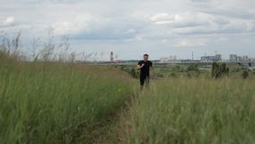 A man runs down the path for a morning jog.