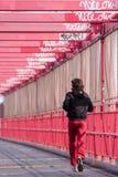 Man runs over the Williamsburg bridge. Brooklyn, New York, USA stock photos