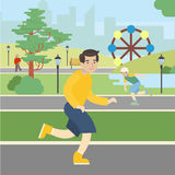 Man runs in the park. Royalty Free Stock Images